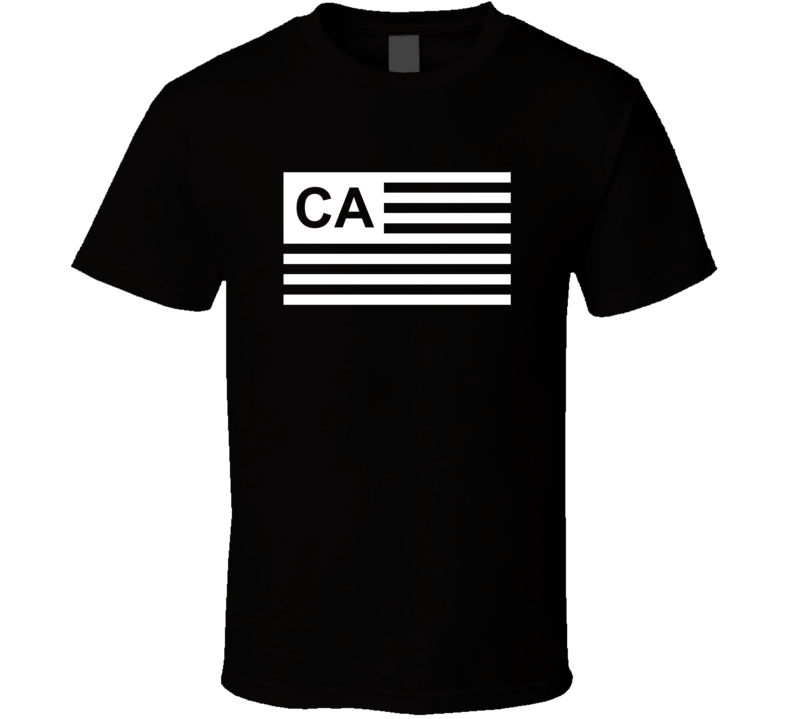 American Flag California CA Country Flag Black And White T Shirt