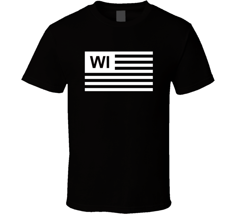 American Flag Wisconsin WI Country Flag Black And White T Shirt
