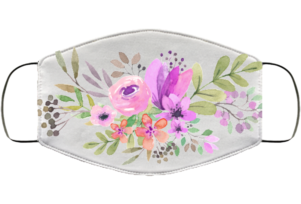 Flower Design - Fixed Face Mask Cover