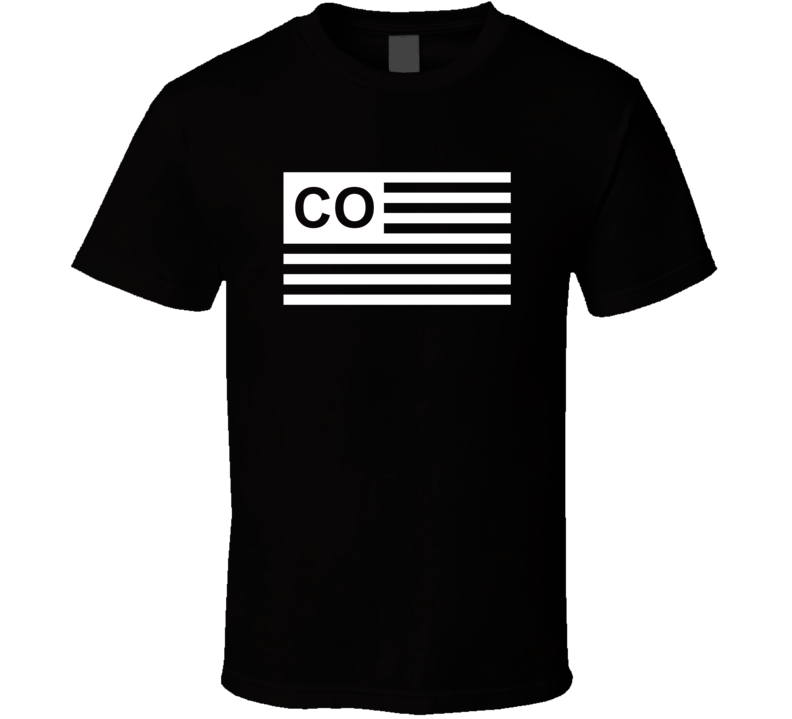 American Flag Colorado CO Country Flag Black And White T Shirt