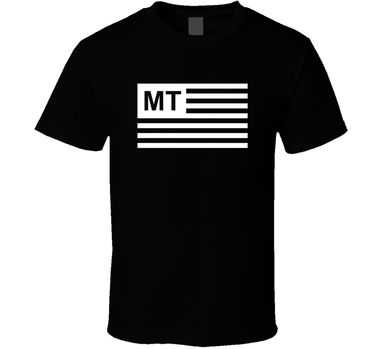 American Flag Montana MT Country Flag Black And White T Shirt