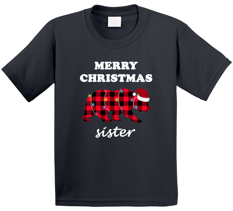 Sister Bear Christmas Lights Plaid Bear Custom T Shirt