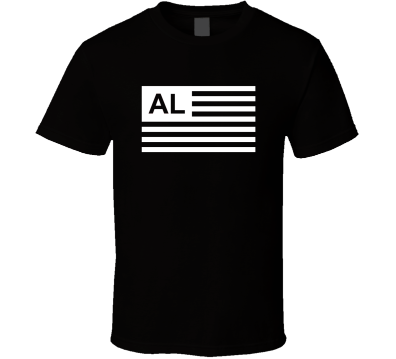 American Flag Alabama AL Country Flag Black And White T Shirt