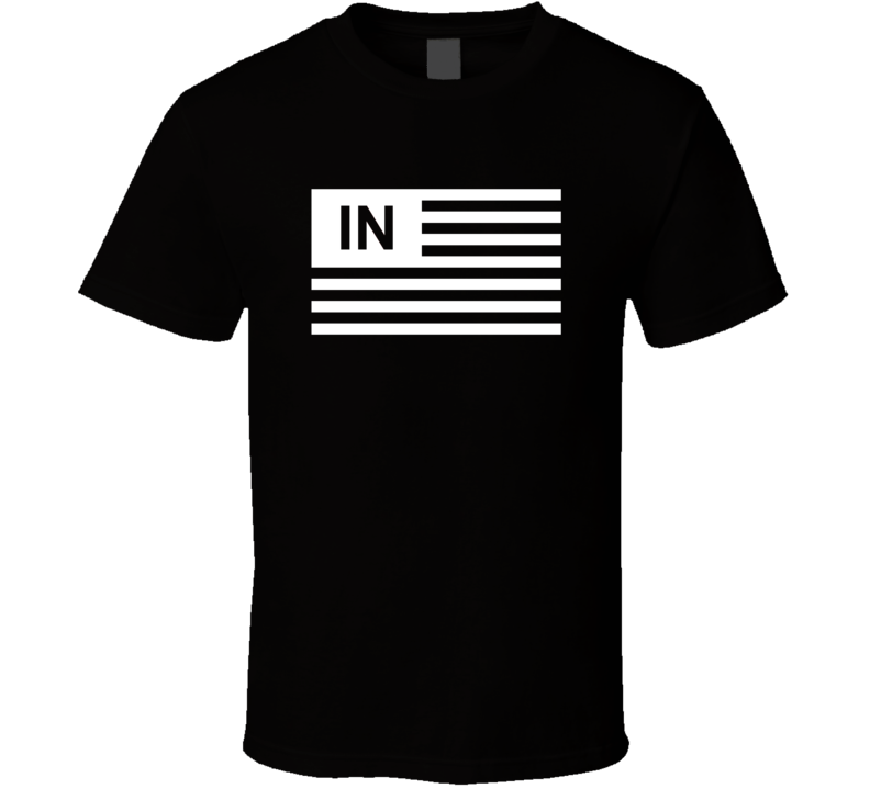 American Flag Indiana IN Country Flag Black And White T Shirt