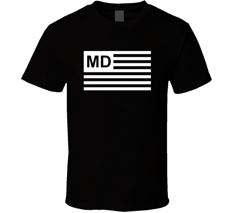 American Flag Maryland MD Country Flag Black And White T Shirt