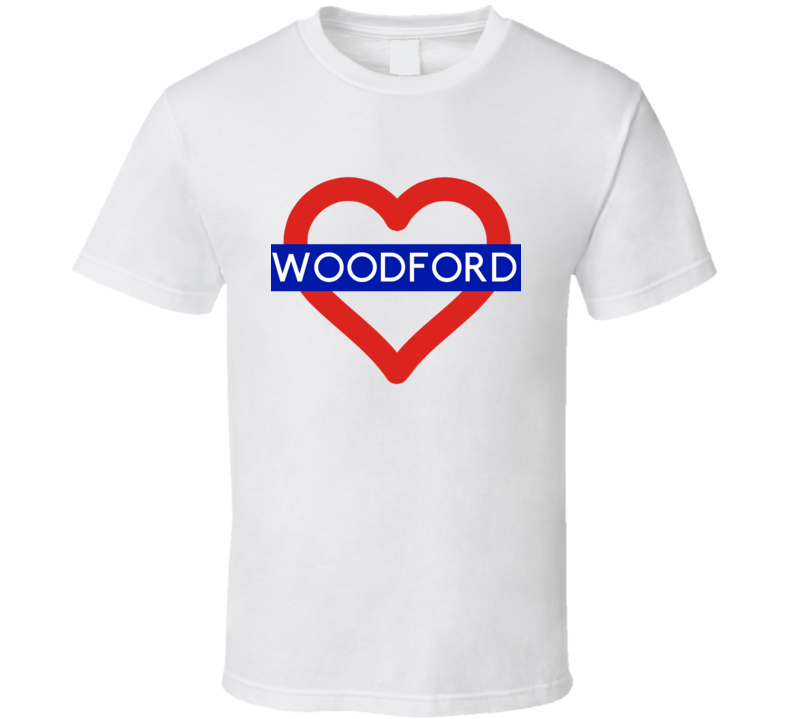 Love London Underground Tube Woodford Heart Design England T Shirt